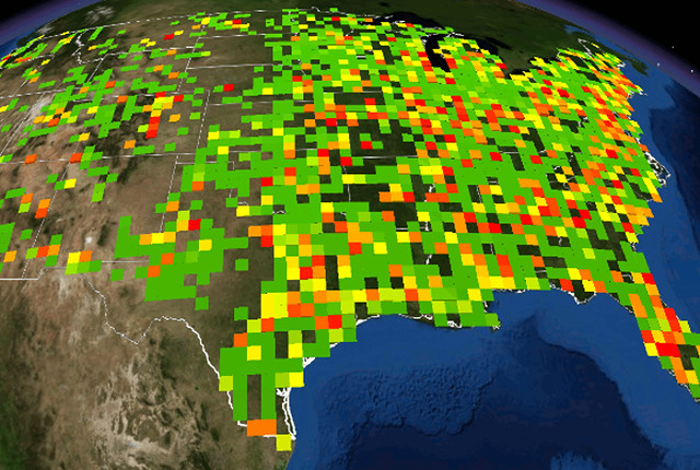 "In the United States, industry produces more than 3 billion metric tons of CO2 each year, around two-thirds of which come from fossil-fuel-based electricity generation. The image above illustrates the relative magnitude and spatial distribution of CO2 emissions across the United States. One technique for reducing CO2 emissions is carbon capture and storage. Researchers at Los Alamos National Laboratory, The Ohio State University, and the National Energy Technology Laboratory have developed a case study showing how CO2 can be captured from ethylene manufacturing plants along the Gulf Coast in Texas and used for enhanced oil recovery at nearby oil production facilities. This approach could lower the ""wells-to-wheels"" carbon footprint of producing oil by around one third."