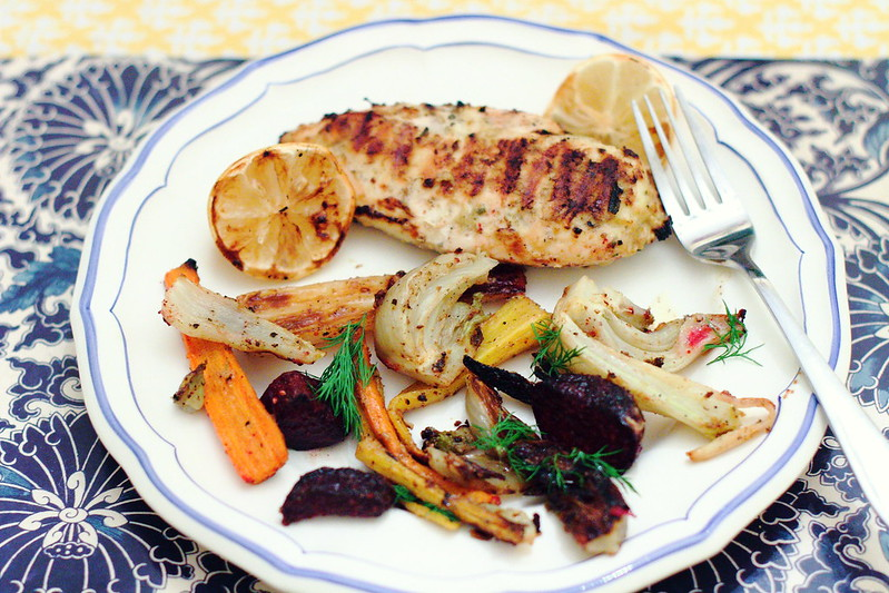Sunday Dinner: Lemon Chicken and Caramelized  Vegetables with Dijon Butter