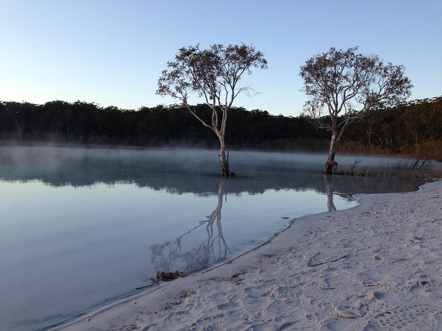 Misty sunrise at Lake McKenzie