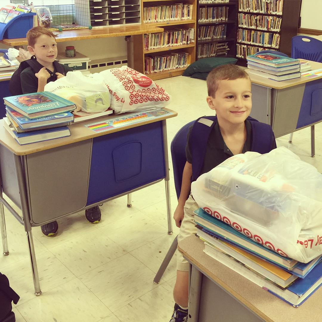 Nathan started 4th grade today! I snuck in his room and got a photo of him and his best friend Dylan. The summer is officially over and I just can't understand where it went. The kids have a half day and we will be enjoying a pizza lunch with friends afte