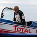 Mélanie Astles from France gets out of her plane after a training flight
