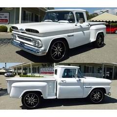 1957 chevrolet(0.0), chevrolet task force(0.0), chevrolet(1.0), automobile(1.0), automotive exterior(1.0), pickup truck(1.0), sport utility vehicle(1.0), vehicle(1.0), truck(1.0), chevrolet c/k(1.0), bumper(1.0), land vehicle(1.0),