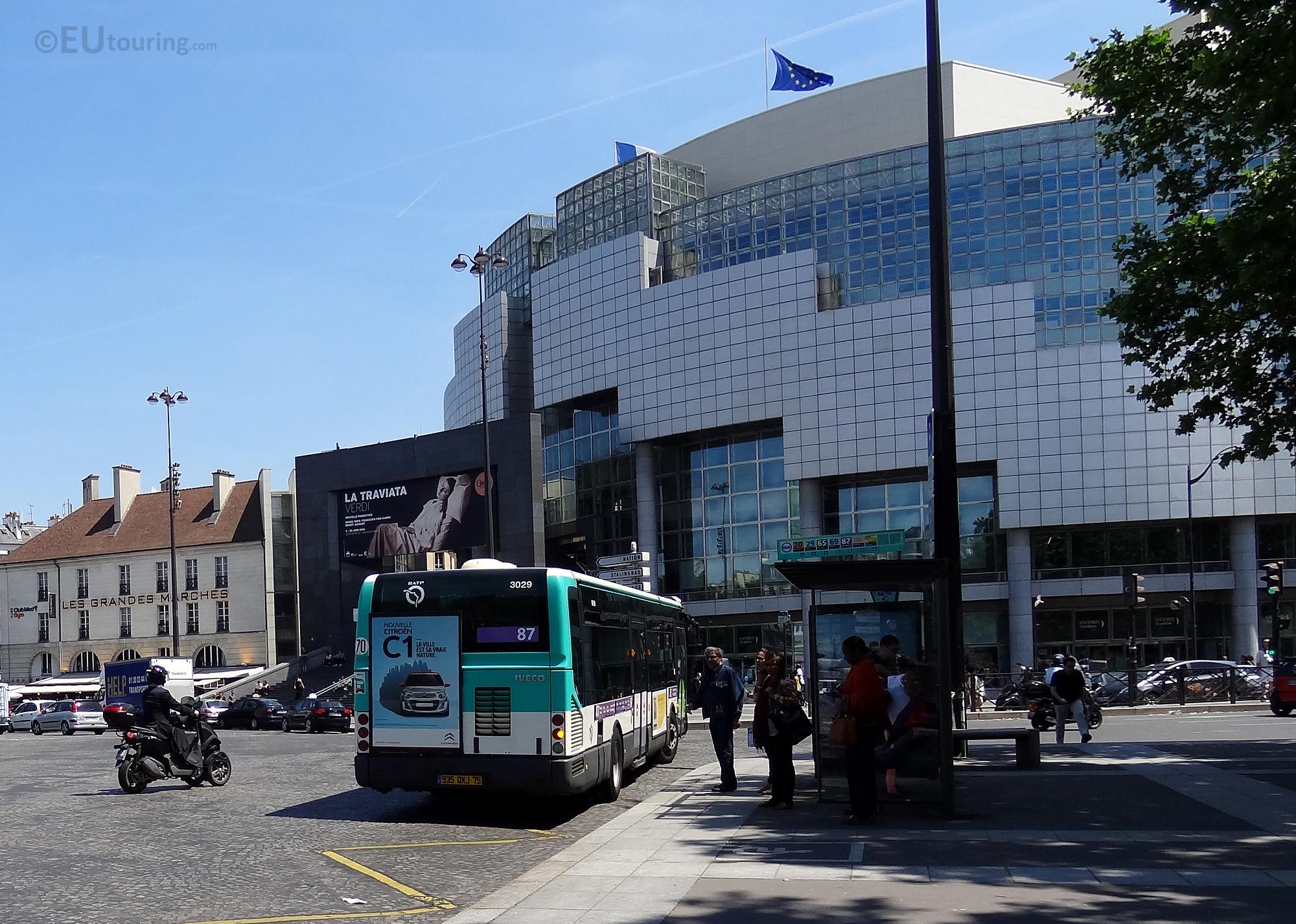 Bus stop at Place de la Bastille