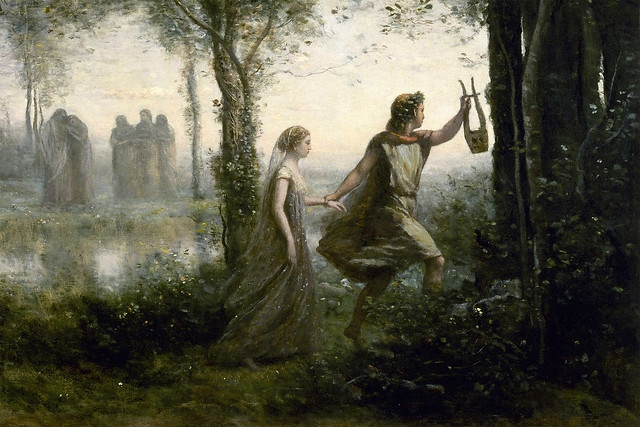 Detail from 'Orpheus Leading Eurydice from the Underworld' by Jean-Baptiste-Camille Corot, 1861. Image courtesy Wikicommons