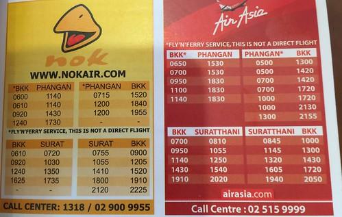 Surat Thani airport flight times