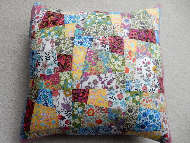 sew saturday Liberty lawn patchwork cushion (2)