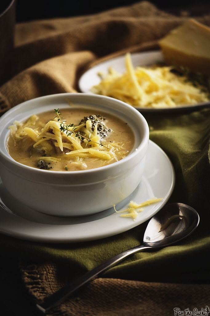 Cheesy Chicken and Broccoli Soup - the jackpot of soups you have been craving. Creamy, cheesy, and loaded with all sorts of goodness to get you through the day. \\ GirlCarnivore.com