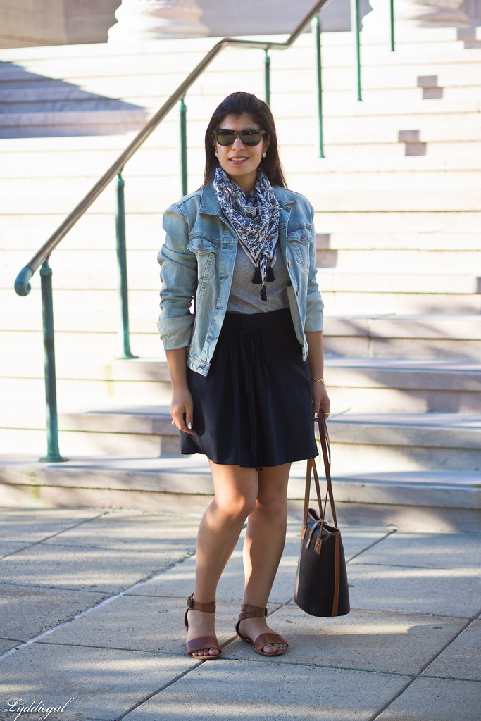 denim jacket, navy skirt, paisley scarf.jpg