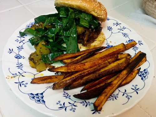 Southern-Style Burgers with Green Tomato Chow Chow & Old Bay Oven Fries