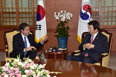 Deputy Secretary of State Antony 'Tony' Blinken meets with South Korean Foreign Minister Yun Byung-se at the Ministry of Foreign Affairs in Seoul, South Korea, on October 6, 2015. [State Department photo/ Public Domain]