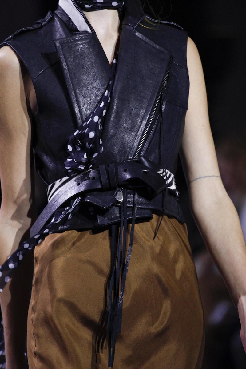 HAIDER ACKERMANN SS16 details leather vest camel skirt waist belt scarf MODERN LEGACY