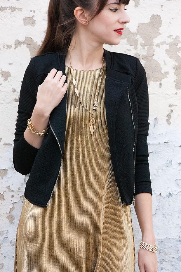 Gold Pleated Dress, Bar 3 dress, Moto Jacket