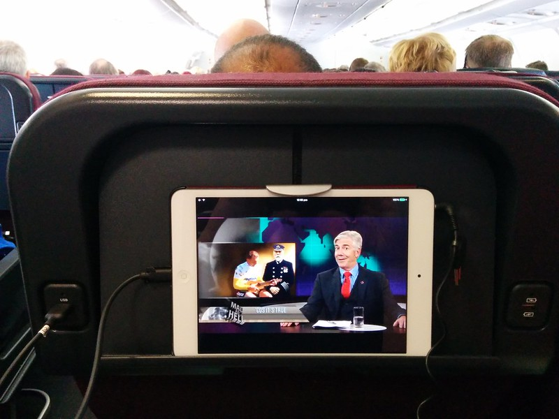 Personal iPad on Qantas flight
