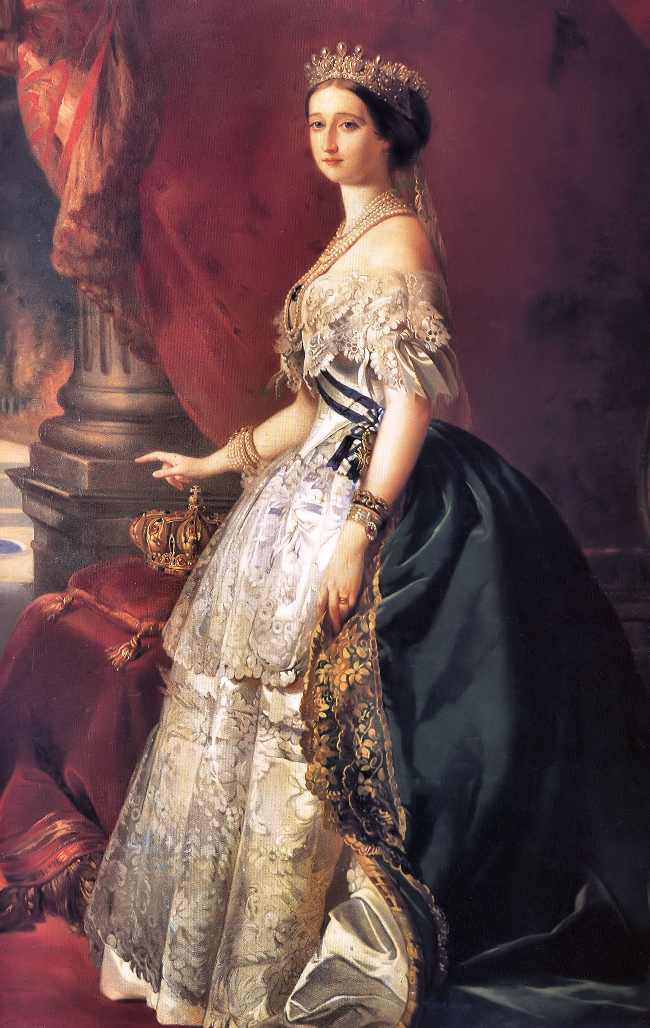 Portrait of the Empress Eugénie (1826-1920) by Franz Xaver Winterhalder, 1853, wearing a gown designed by Worth