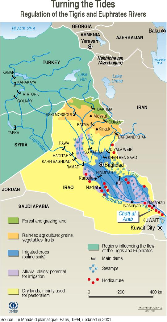 Regulation Of The Tigris And Euphrates Rivers GRIDArendal - Tigris and euphrates river map