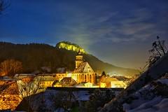 Stadt und Festung Königstein in den Abendstunden