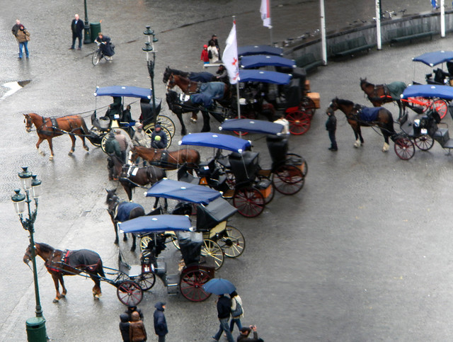 Horse-drawn carriages waiting for custom on a rainy day in Brugge, Belgium