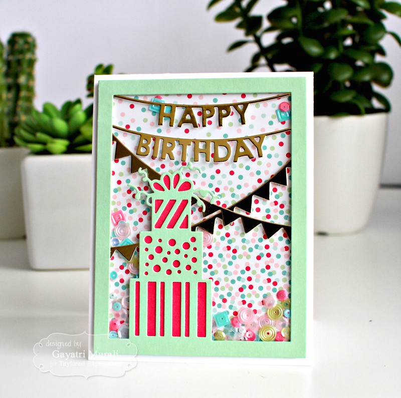 Happy Birthday shaker card 1