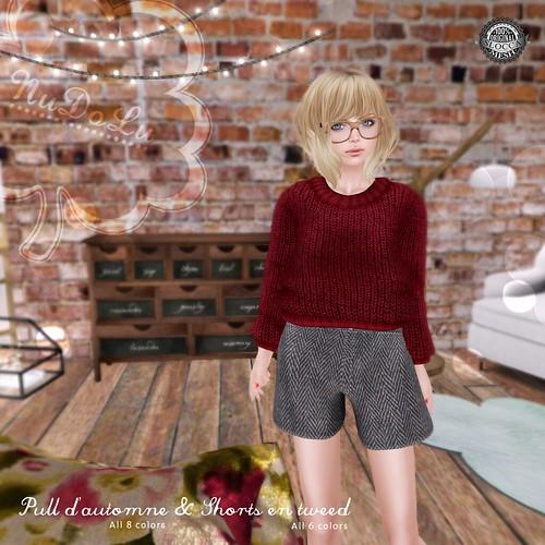 NuDoLu Pull d'automne & Shorts en tweed AD