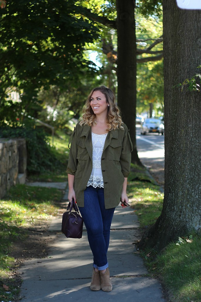 Olive Green Jacket | Lace Top | Cuffed Jeans | Tan Suede Booties | Fall Fashion