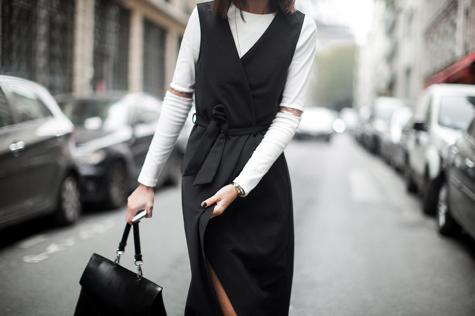 sleeveless-black-coat-white-mini-dress