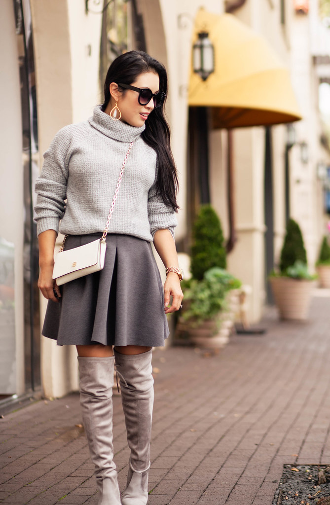 cute & little blog | petite fashion | shades of gray | gray sweater, gray pleated skirt, stuart weitzman highland boots topo suede | fall outfit
