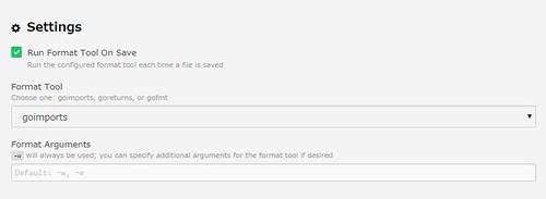 settings for gofmt@go-plus (ATOM)