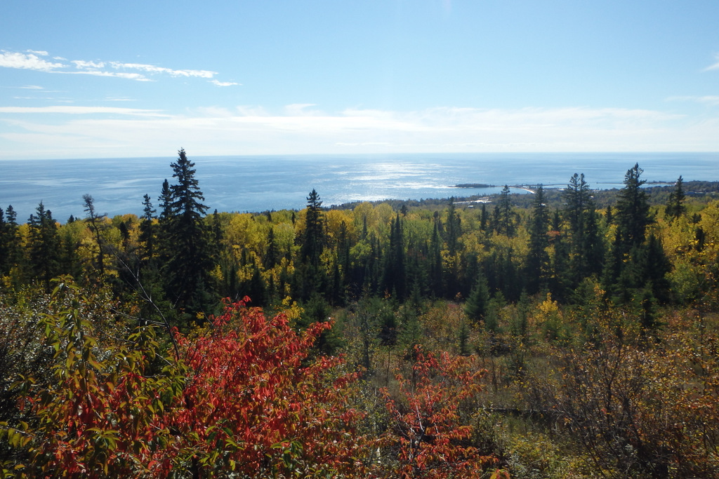 pine trees and yellow trees in the foreground, sparkling Lake Superior and Grand Marais in the distance