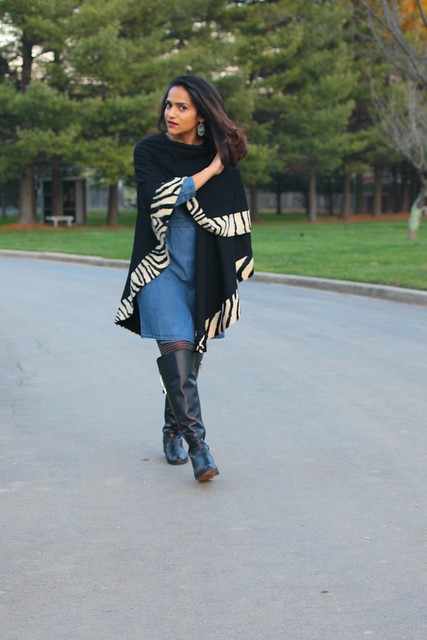 Cape - Vintage (Inherited from Mom) Dress - Calvin Klein Boots - Calvin Klein Earrings - Kendra Scott Watch - Michael Kors Tanvii.com