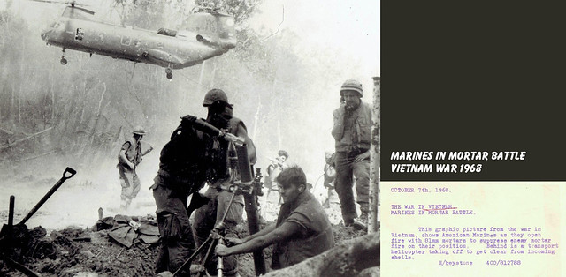 1968 US Marines fire 81mm mortar during battle in the Vietnam War