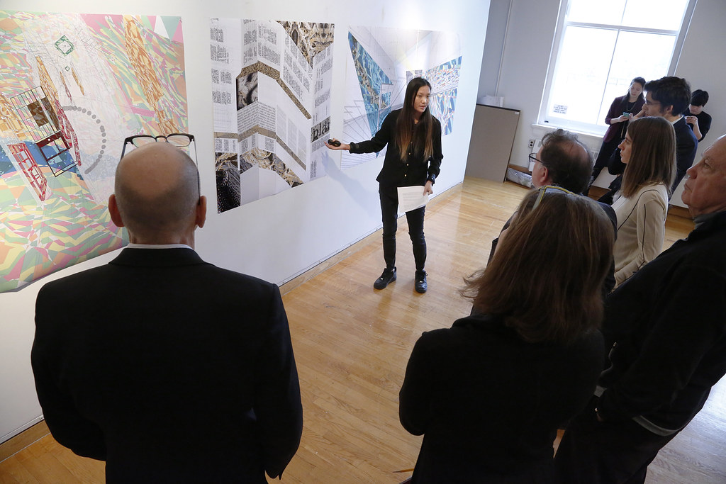 Warisara Sudswong presenting her M.Arch. thesis project titled <em>Building Drawings (and Drawing Buildings),</em> in John Hartell Gallery.
