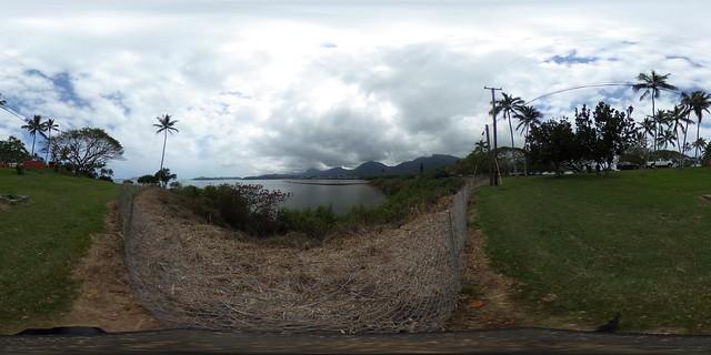 The Loko Kuapa (stonewall fishpond), Paepae 'o He'eia (manmade pool/pond of He'eia), as seen from the He'eia State Park in Windward O'ahu, Hawaii - a 360 degree Equriectangular VR