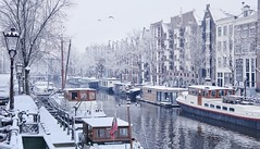 Amsterdam covered in a fresh sheet of snow