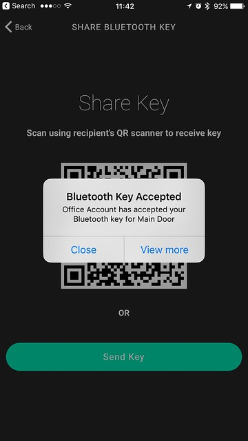 Igloohome iOS App - Bluetooth Key Accepted