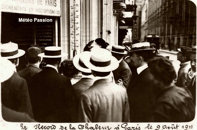 journée la plus chaude de l'été 1911 à Paris, avec 37,7° sous abri le 9 août météopassion