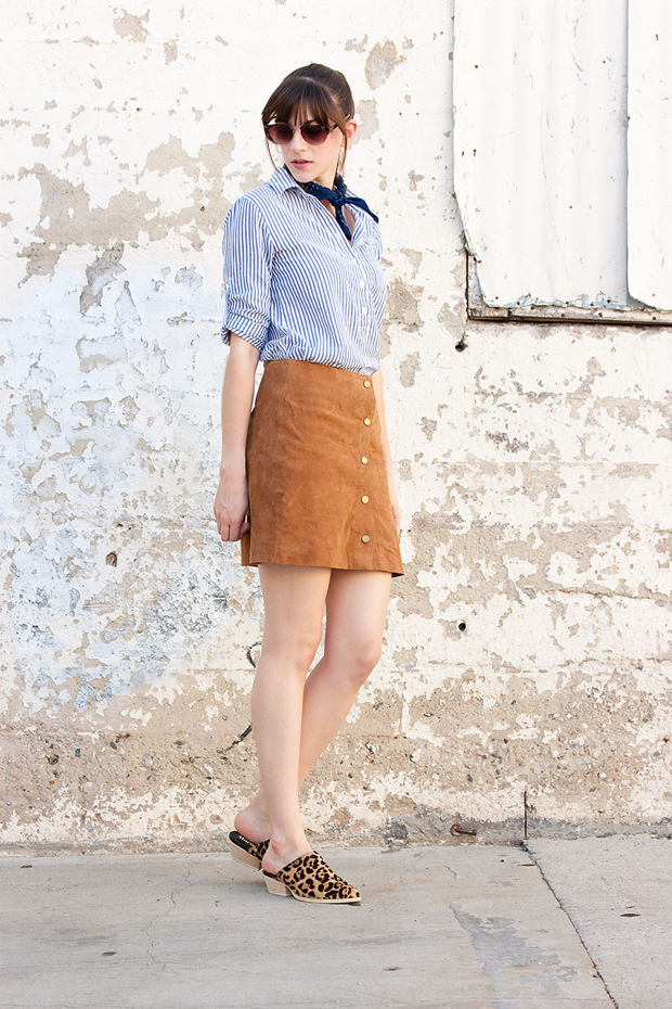 Suede Skirt, Striped Popover Shirt, Leopard Mules, Bandana Scarf