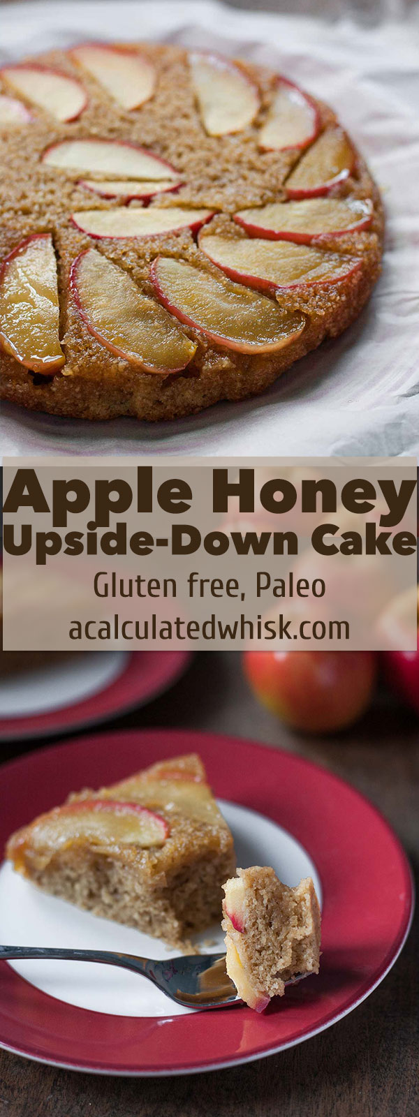 Apple Honey Upside-Down Cake (Dairy free, Paleo) | acalculatedwhisk.com
