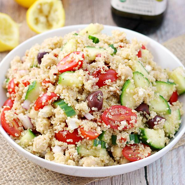 Mediterranean Quinoa Salad in a white salad bowl.