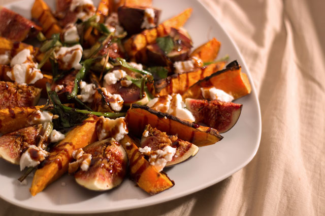 Roasted sweet potatoes with fresh figs and goat cheese