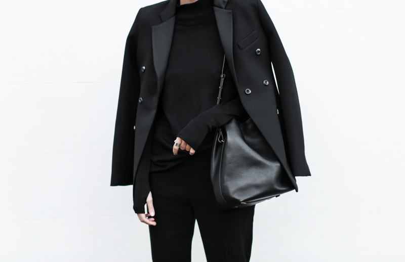 Ellery double-breasted blazer, all black outfit, street style, bucket bag, workwear, MODERN LEGACY blog (1 of 1)