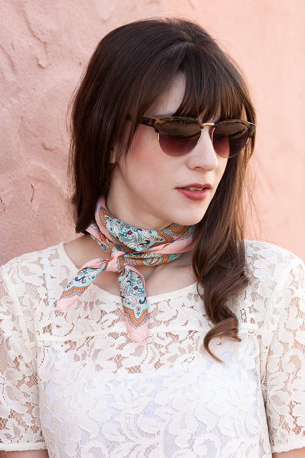 White lace Tee, Paisly Neck Scarf