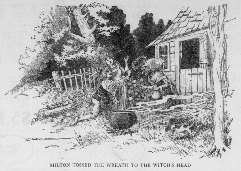 Walt McDougall - The Salt Lake herald., August 16, 1903, Last Edition, Milton Tossed The Wreath To The Witch's Head