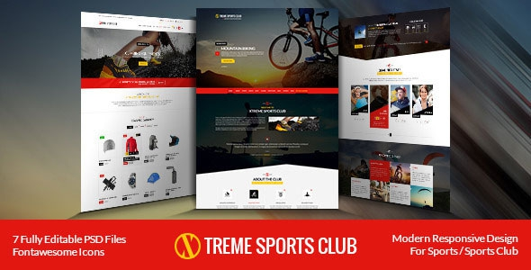 Themeforest Xtreme Sports club - PSD Template