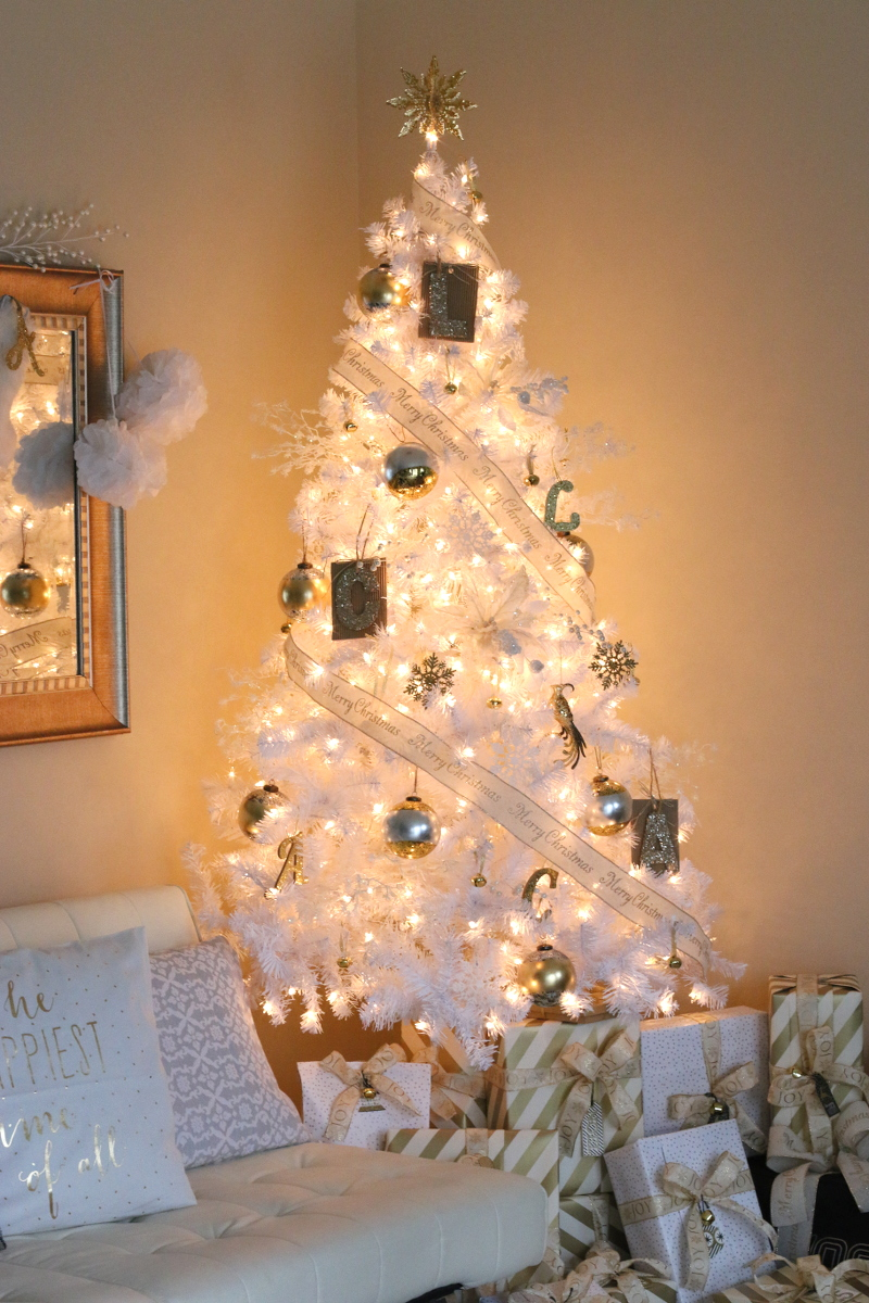 Christmas Home Tour, White Christmas tree, gold silver ornaments