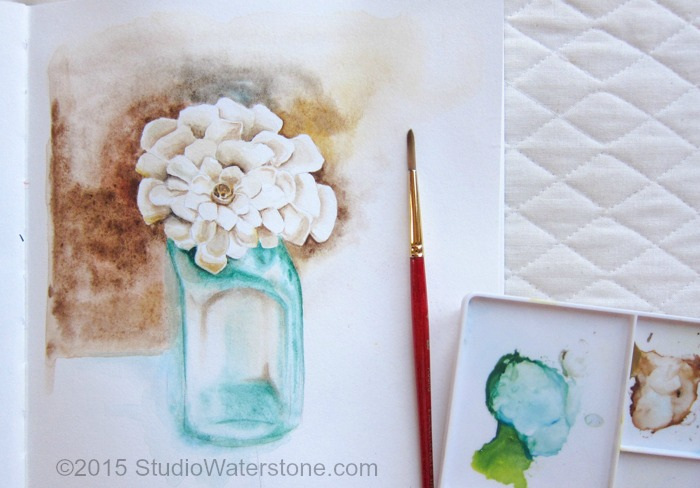 My Sketchbook: Turquoise & Cream Floral