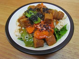 Sesame-Orange Tempeh with Snow Peas