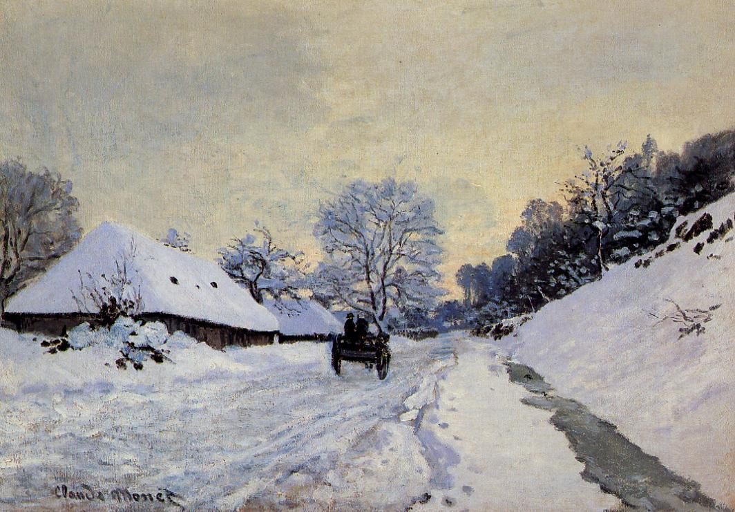 A Cart on the Snow Covered Road with Saint-Simeon Farm by Claude Oscar Monet - c. 1865