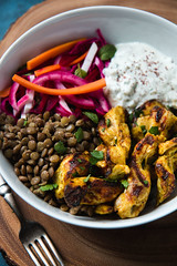 Chicken Shawarma Bowl with Lentils, Pickled Veggie…