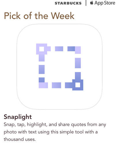 Starbucks iTunes Pick of the Week - Snaplight