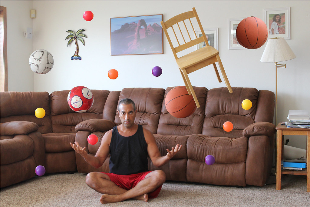 When I am home alone I like to play with my balls and ....chair! ;-)                                 #UseTheForce #FlickrFriday